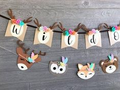 Guirnalda de animales del bosque Baby Girl Shower Themes, Baby Shower Decorations, Woodland Baby, Woodland Animals, Baby Birthday, Birthday Party Themes, Animals Tattoo, Shower Bebe, Bunny And Bear