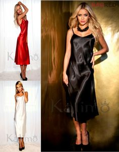 Hot Satin Chemise Nightdress ARGENTINA Luxury Nightwear Sleepwear Slip Nightie