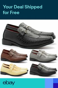 3c07f9c62195 New Mens Italian Style Faux Snakeskin Shoes Formal Wedding Slip On Buckle  6-11