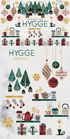Introducing Scandinavian Christmas HYGGE collection of hand painted watercolor illustrations in naive style. --- This set includes 29 PNG illustrations Christmas Graphics, Christmas Clipart, Christmas Greeting Cards, Hygge Christmas, Christmas Art, Christmas Poster, Christmas Candles, Modern Christmas, Christmas Holidays