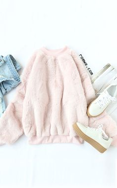 Contrast Ribbed Trim Drop Shoulder Fluffy Sweatshirt - Source by - - Contrast Ribbed Trim Drop Shoulder Fluffy Sweatshirt – Source by – Source by RhondaKuehnerWomensFashion - Teen Fashion Outfits, Girly Outfits, Outfits For Teens, Fall Outfits, Outfit Winter, Fashion Mode, Look Fashion, Korean Fashion, Cute Comfy Outfits