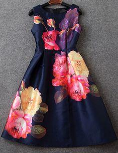 Buy Navy Sleeveless Floral Flare Slim Dress from abaday.com, FREE shipping Worldwide - Fashion Clothing, Latest Street Fashion At Abaday.com