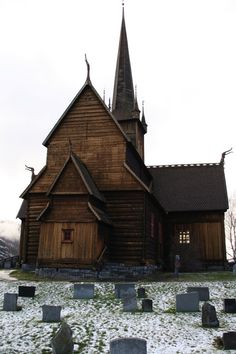 Beautiful Lom stave church facade. Norway