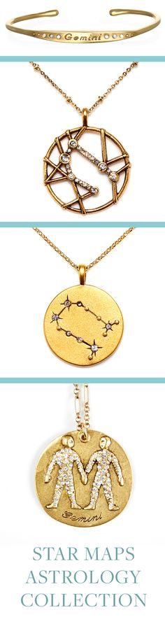 Gemini Astrology Jewelry! Sequin's Star Maps Collection illustrates the twelve astrological signs with beautifully detailed interpretations of constellations and zodiac symbols. Each is 22K antique gold- rose-gold or silver-dipped and cast from an original Sequin illustration. Designed & handcrafted in the USA with components from around the world.