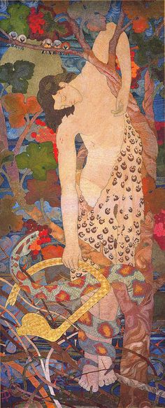 The Progress of a Soul: Despair. Silk and gold thread embroidered on linen. Phoebe Anna Traquair 1899