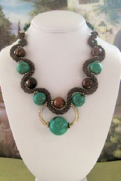 Turquoise and Kumihimo Necklace with Earrings  by dkdesigns8238, $90.00