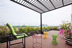 roof terrace modern designed metal pergola wpc flooring plant pots