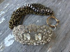One of a kind repurposed 1930s 40s Rhinestone by funkyjunkmama, $98.00