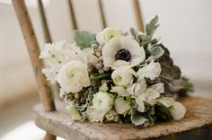 White, Gray, Green, Wedding, Anemone, Sweetpeas, Succulent, Dusty miller, Ranunculus, Bouquet, Prairie Street Brewhouse. Flowers by Vale of Enna. Photos by Eric Kelley Photography. Design by Lora Kelley and Mallory Joyce.