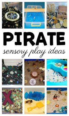 Fun pirate activities for small world and sensory play! Over 10 sensory play activities for the little pirates to enjoy. These are great for a preschool pirate theme, a summer camp, or just because. Preschool Pirate Theme, Pirate Activities, Summer Activities For Kids, Sensory Activities, Sensory Play, Infant Activities, Kindergarten Activities, Preschool Activities, Sensory Bins