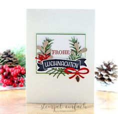 stempel einfach - Kreativ mit Stampin Up  - Weihnachtskarte mit Tannen und Zapfen.