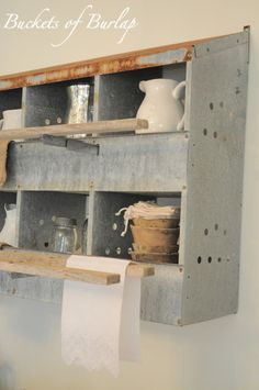Nesting box turned into shelving, storage! Farmhouse Friday #18 - Galvanized and Metal Decor - Knick of Time