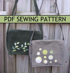 Free-Motion Applique Messenger Bag PDF Sewing Pattern