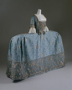 Side on view of Court Dress or robe à la française. ca. 1750, British, silk, metallic thread.