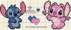 Grille gratuite point de croix : Stitch et Angel