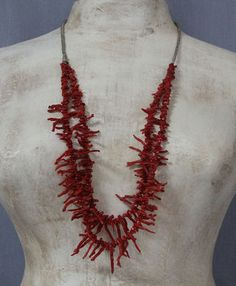 $475  Luscious Red 2 Strand Branch Coral Necklace, Jewelry by Artist Unknown