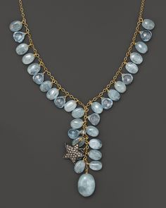 Aquamarine, Blue Topaz And Diamond Necklace
