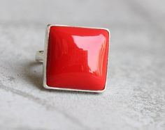 Red Coral Ring  Square ring  Bezel ring  Red ring  by Studio1980