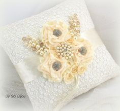 Bridal Ring Pillow in Ivory and White with Lace Pearls by SolBijou, $110.00