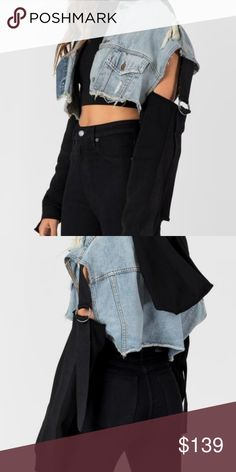 c6c98de8cd0 Lf carmar cropped sweatshirt denim jacket nwt