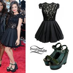 Fifth Harmony posed on the red carpet at the MTV Video Music Awards today in mostly black outfits. Camila wore a Jones + Jones Laura Dress ($96.60) teamed with a pair of PRUDANCE Premium Wedges ($190.00) from Topshop.
