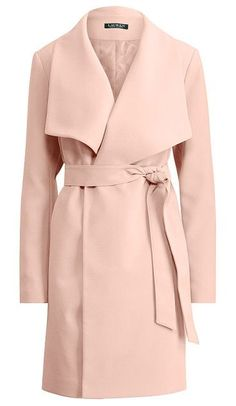 lauren crepe open-front coat by Ralph Lauren. A clean-lined look meets a fluid drape in this crepe coat for transitional months. Straight silhouette. Size medium h...