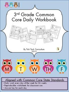 3rd grade daily workbook that features 180 activity-packed pages, aligned with multiple Common Core standards. Each page covers every day of the average school year. The majority of these activities are centered around Math and English Language Arts.  The cycle to this workbook is there are four days in a row that focus on math and language arts while the fifth day is a one activity that is either writing, reading, math, science or social studies.