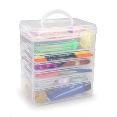 The medium sized Lock Tight™ stackable organizer has three customizable trays that snap together into a handy carrying case. Perfect for all kinds of craft supplies! Baking Organization, Diy Organisation, Life Organization, Organizing, Bead Storage, Jewellery Storage, Storage Boxes, Storage Containers, Desktop Storage Drawers