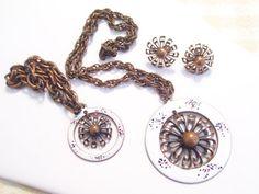Rare Vintage REBAJES Copper Enamel Modernist Floral Pendant Necklace Charm Bracelet Earrings Set