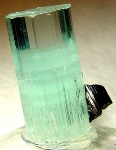 Aquamarine phantom with schorl Origin: Shigar Valley, Baltistan, Northern Areas, Pakistan Sample size: 3.5 x 1.8 x 1.6 cm / Mineral Friends <3