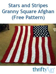 Stars and Stripes Granny Square Afghan This flag afghan is made of hundreds of . Stars and Stripes Granny Square Afghan This flag afghan is made of hundreds of small granny square Crochet Granny Square Afghan, Crochet Quilt, Granny Squares, Free Crochet, Crochet Blankets, Square Blanket, Crochet Cushions, Crochet Blocks, Crochet Pillow