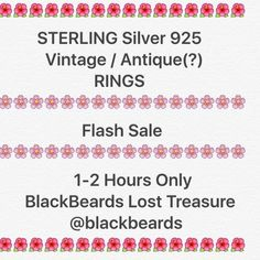 Sterling Silver Rings Vintage/AntiquesAll Item  FLASH SALE  1-12 Hours only.                          Sterling Silver Rings Vintage/Antiques.          BlackBeards Lost Treasure on Posh @blackbeards invites you to shop our closet of long Lost Treasures. We search our Nation for lost unique irreplaceable Treasures just for you. All pre-loved. We do not buy from large e stores like Amazon or eBay!! Sterling is shown with & without tarnish to show age. Marked gemstones & vintage were made prior…