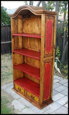 Rustic bookcase 3  With color