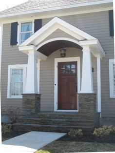 Exterior paint colora for house with brick black curb appeal 32 ideas Exterior Front Doors, Exterior Paint, Exterior Design, Gray Exterior, Colonial Front Door, Front Door Overhang, Exterior Colors, Front Porch Addition, Front Porch Design