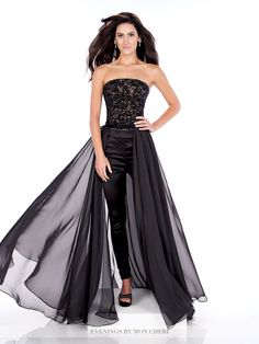 Three-piece stretch satin and chiffon dress set, strapless hand-beaded top, stretch satin skinny pants, split front chiffon A-line overskirt