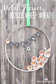 Create this Metal Flower Bicycle Wheel Wreath