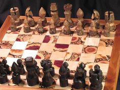 hand carved chess set. Intense.