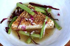 spiced polenta fried tofu in a ginger broth
