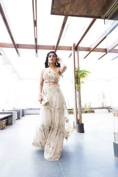 Natasha Dalal-Gold Tulle Embroidered Lehenga