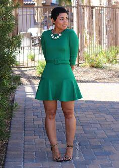 Little Green Dress & Belt + Franken-pattern Info - Mimi G Style Cute Dresses, Beautiful Dresses, Cute Outfits, Look Fashion, Girl Fashion, Womens Fashion, Pernas Sexy, Diy Dress, Belted Dress