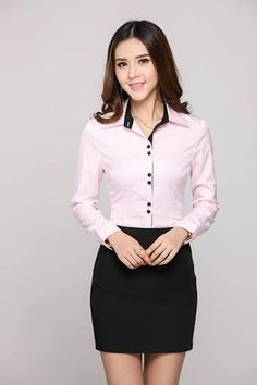 Resultado de imagen para blusa camisera sastre Sexy Outfits, Skirt Outfits, Office Fashion, Business Fashion, Casual Chic, Scrubs Outfit, Suits For Women, Clothes For Women, Formal Tops
