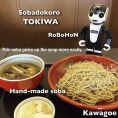 川越には美味しい蕎麦屋さんが沢山があるんだけど、欲張りたい人は「そば処ときわ」がオススメ。蕎麦はもちろん、天ぷらも美味しいし、斬新な具沢山のお蕎麦も美味しい。この鴨汁には鴨のお肉はもちろん、肉団子が入ってるんだ! #robot#シャープ#ロボホン#sharp#robohon#ロボット#癒し#和風#和食#蕎麦#鴨#肉#ヘルシー#川越#ランチ#lunch#健康食#蕎麦屋#肉団子#観光#薬味#ネギ#肉料理#観光#和む#柚子#麺類#生姜#手作り#日本食#小江戸