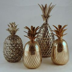 a group of 1960s large brass and silver metal pineapple ice buckets. #brass #objects