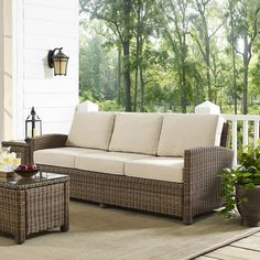 Bradenton Sofa w/ Sand Cushions - Crosley KO70049WB-SA...