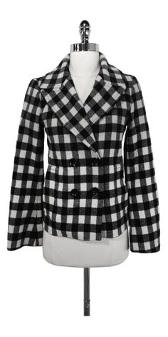 Current Boutique - Club Monaco - Black & White Checkered Wool Coat Sz XS $98.99