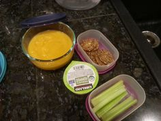 TQI Small Lunch/Big Snack: roasted vegetable sweet potato squash soup, seed crackers & hummus, celery sticks