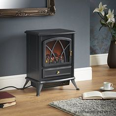 Electric Fireplace Space Heater Portable Free Standing Stove Realistic  Indoor