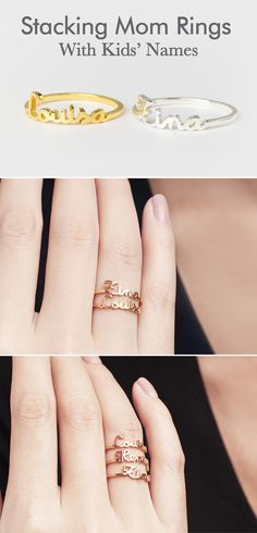 Stacking Mother Rings With Kids' Name Three Stone Engagement Rings, Rose Gold Engagement Ring, Mom Jewelry, Handmade Jewelry, Custom Jewelry, Jewlery, Handmade Gifts, Stackable Name Rings, Unique Gifts For Girls