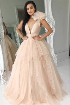 A-Line Deep V-Neck Floor-Length Pink Tired Prom Dress with Flower P2384