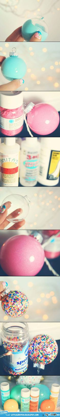 Simple Filled and Painted Christmas Ornaments | DIY